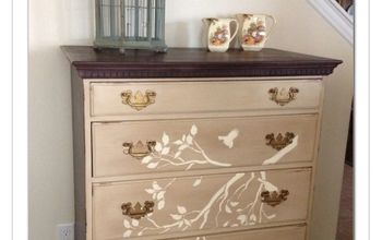 antique dresser finished with chalkpaint love the stencil, chalk paint, painted furniture, Antique Dresser painted with chalk paint and finished with a cute birdie and branch stencil