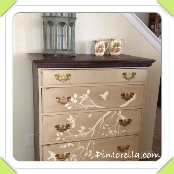 Antique Dresser painted with chalk paint and finished with a cute birdie and branch stencil.