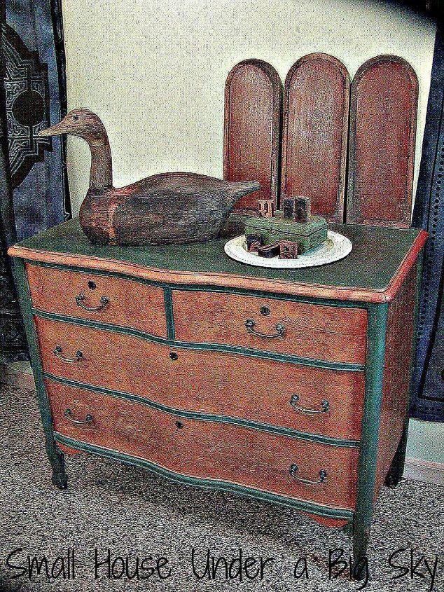 Bird's Eye Maple Dresser Transformation. Chalk paint is CeCe Caldwell's Michigan Pine.