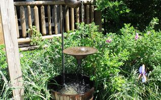old tea pot fountain, outdoor living, ponds water features, repurposing upcycling, Tea pot fountain made 2013