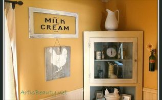 come check out my vintage milk and cream co stenciled paint on glass sign diy, crafts, home decor, repurposing upcycling, the finished sign hanging in my kitchen next to my pallet sign