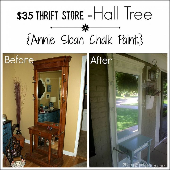 Before and After shot of my $35 Thrift Store Find turned Front Porch Decor