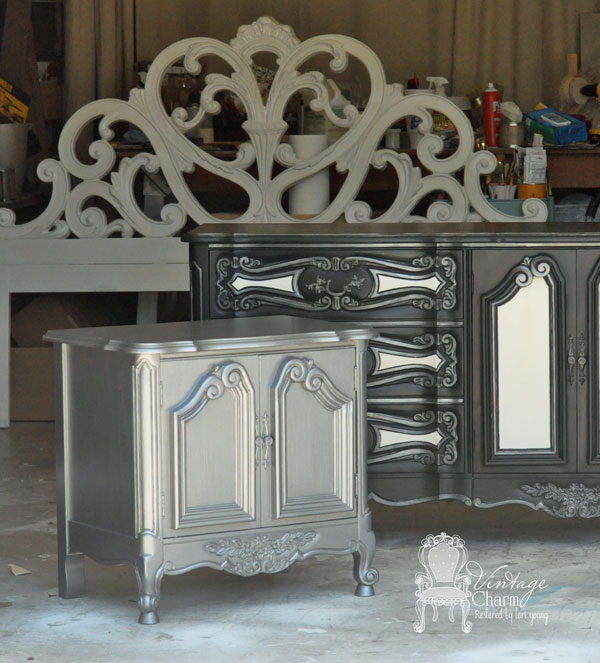 Ralph Lauren Iron Gate on the nightstand.  Maison Blanche Paint in Wrought Iron and Pewter Organza.  Custom mixed white for the headboard and dresser accents.