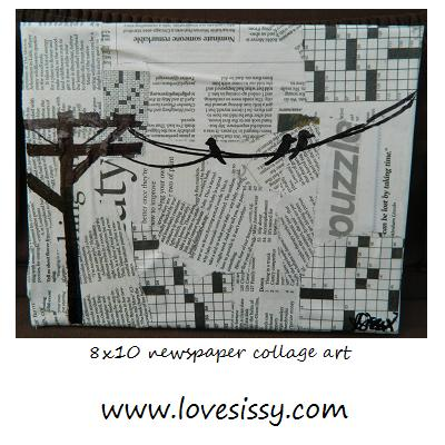 Mod Podge newspaper onto a canvas then when dry draw birds & wire with Sharpie.