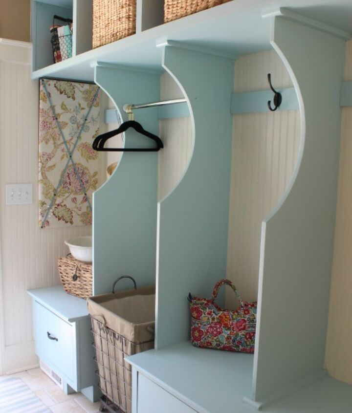 Laundry Room and Mudroom Storage Built-in Cabinets Painted Watery Blue.