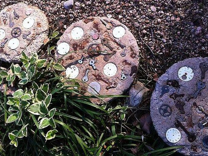 my providence stepping stones, concrete masonry, flowers, gardening, outdoor living, repurposing upcycling, Time worn steps of time
