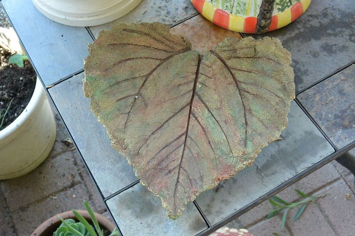 One sunflower leaf. I may put a small plant towards the back of this one or just leave it alone sitting on the table.