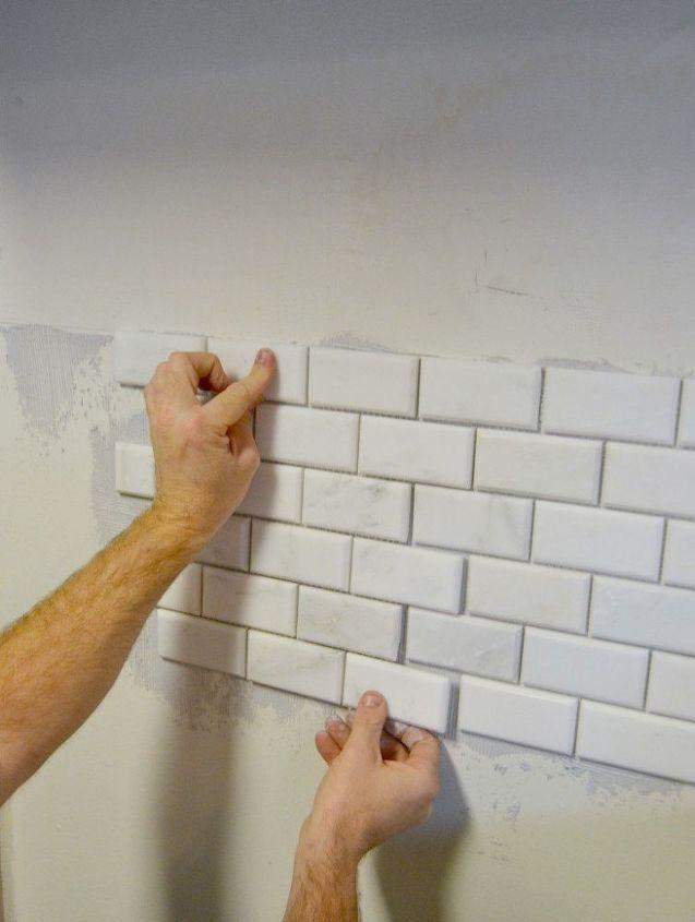 kitchen makeover diy stone tile backplash, diy, kitchen backsplash, kitchen design, tiling