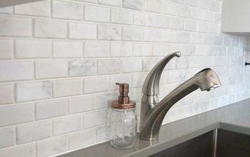 Kitchen Makeover: DIY Stone Tile Backplash