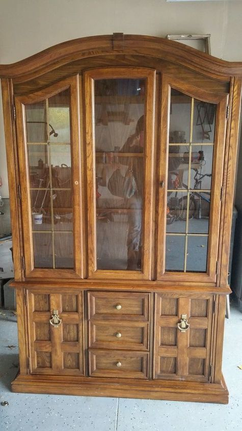 Vintage Hutch Given Weathered Wood Look Hometalk