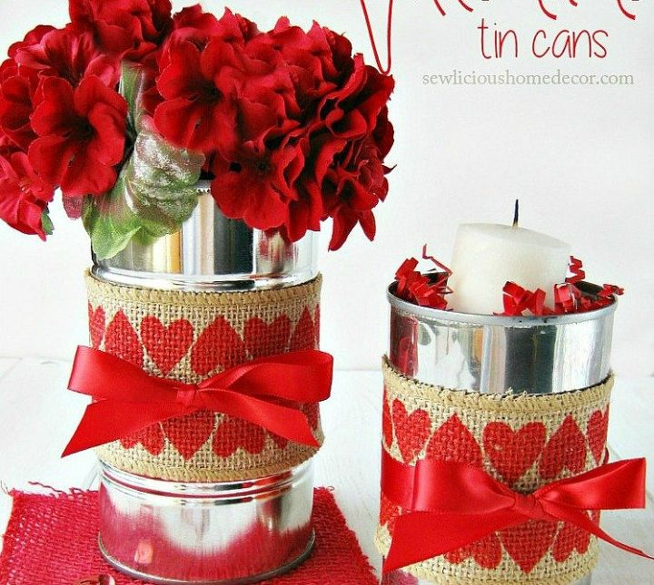 s 15 empty tin can hacks that will make your home look amazing, crafts, home decor, repurposing upcycling, Design a Valentine s Day vase
