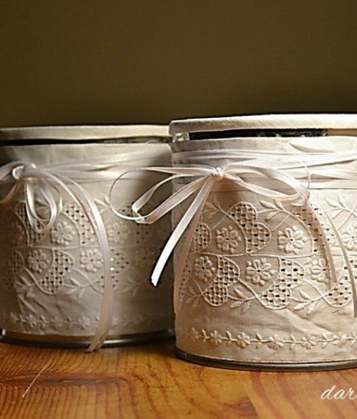 s 15 empty tin can hacks that will make your home look amazing, crafts, home decor, repurposing upcycling, Cover some super stylish storage