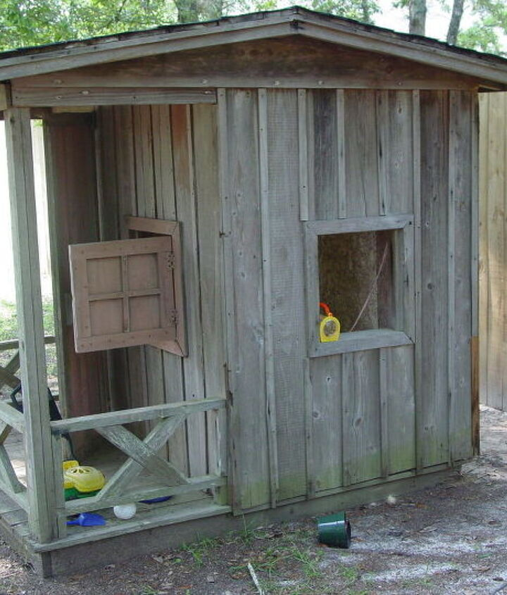 my granddaughter s playhouse, diy, how to, fire pit, repurposing upcycling, It was structurally sound except for one place in the floor which required a new board