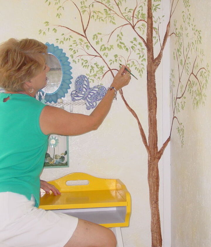 my granddaughter s playhouse, diy, how to, fire pit, repurposing upcycling, I stretched my artistic ability to paint her a wall tree She liked it and she is not hard to please