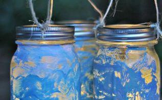 mason jar lanterns craft with kids, crafts, decoupage, mason jars, repurposing upcycling
