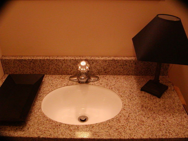q height for tonge and grove panneling in small bathroom, bathroom ideas, diy, how to, paint colors, small bathroom ideas, wall decor, Granite countertop new sink step one