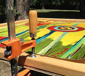 How to frame prints Artwork Glue Wood Frame Onto Wood Or Thick Chipboard Hometalk How To Frame Huge Prints Inexpensively Hometalk