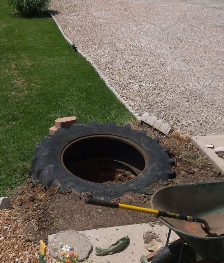 He got the tire installed and then dug out the center of the tire deeper.