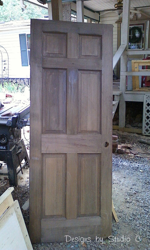 build a corner bookcase using a door, diy, how to, repurposing upcycling, woodworking projects, Before A solid wood door I purchased at my local Habitat for Humanity ReStore It was already a gorgeous shade of brown and just needed to be sanded
