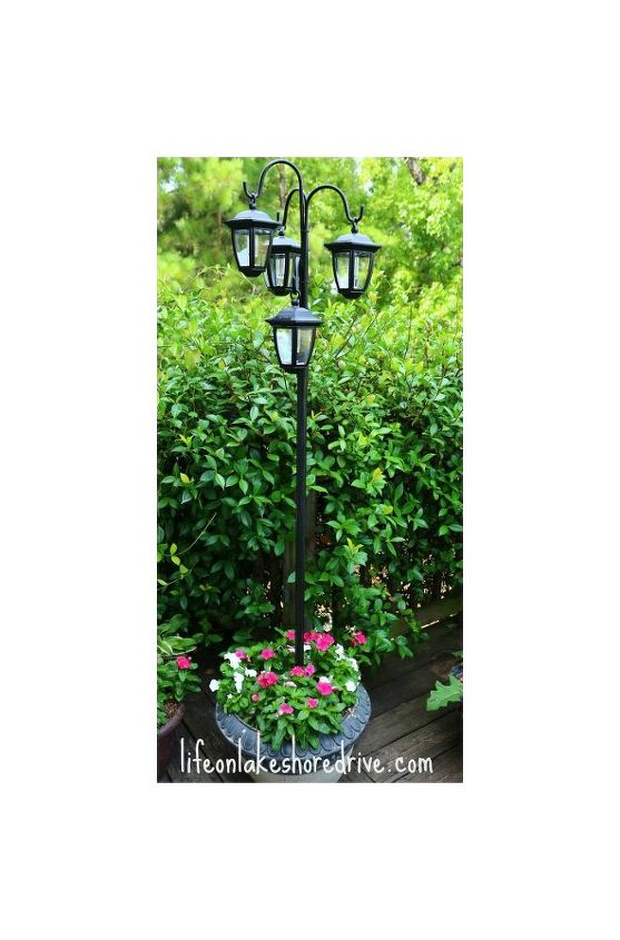 Easy diy solar lights lamp post with flower planter hometalk easy diy solar lights lamp post with flower planter go green landscape lighting aloadofball Image collections