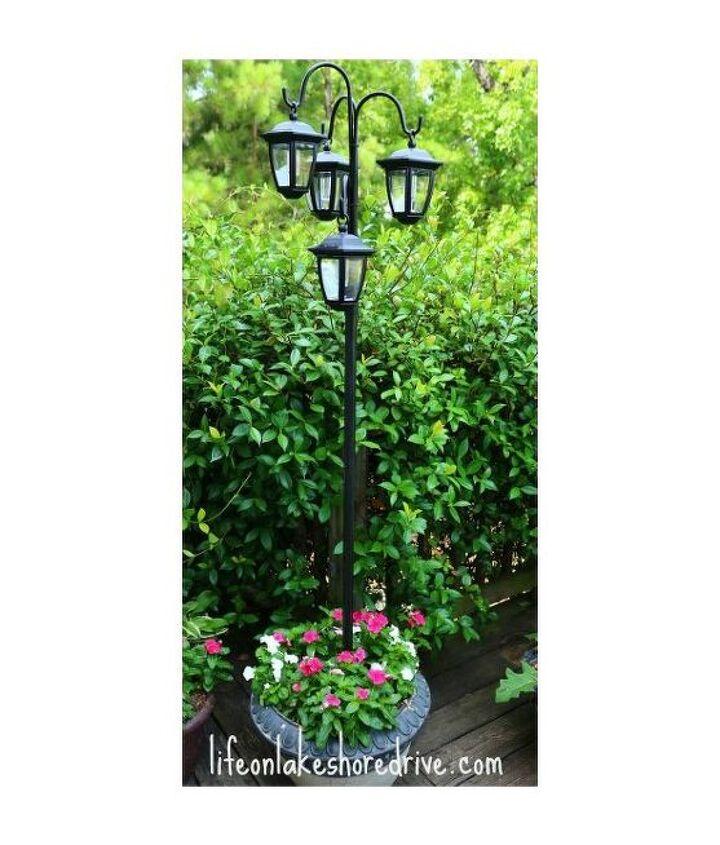Easy Diy Solar Lights Lamp Post With Flower Planter Hometalk