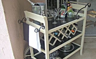 my new bar cart, painted furniture, rustic furniture, Side view of cart