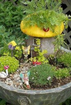 brilliant birdbaths re purposed, flowers, gardening, repurposing upcycling, succulents, Pat Jackson s adorable fairy garden