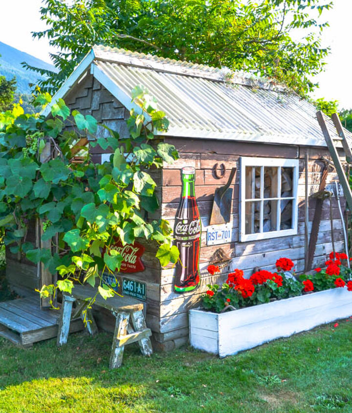 The garden shed is all decked out in full blooms and full blown greenery. http://www.funkyjunkinteriors.net/2013/07/rustic-garden-shed.html