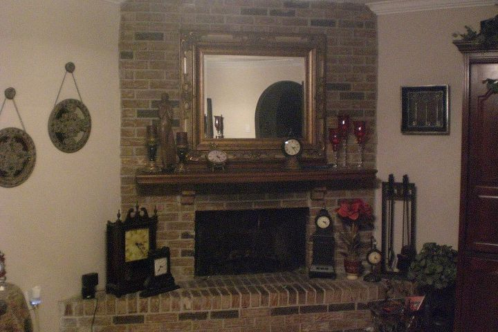 Corner fireplace needs updating.