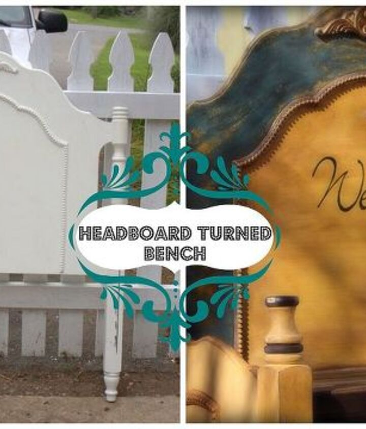twin headboard turned bench, painted furniture, repurposing upcycling