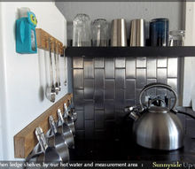 kitchen ledge shelves, diy, kitchen design, shelving ideas, storage ideas, woodworking projects, A short ledge between our refrigerator and sink holds all of our glasses