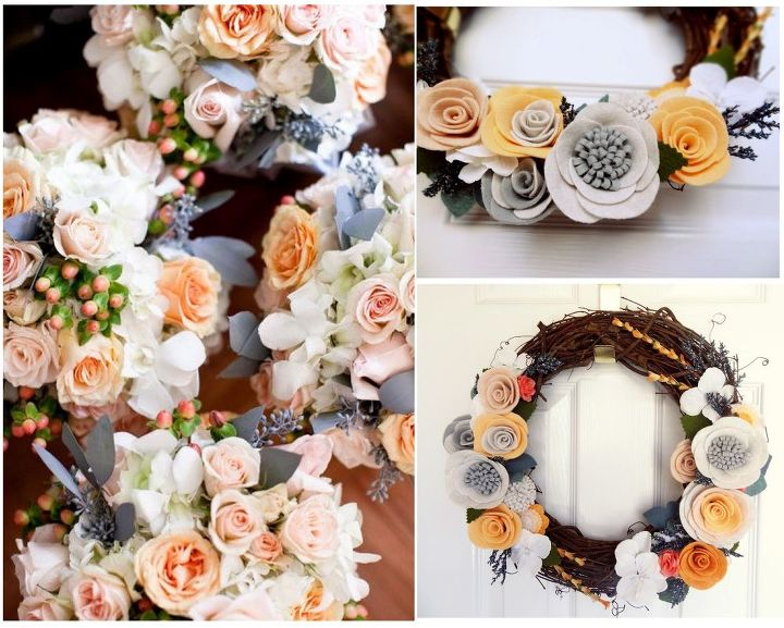 Elegant example of how custom paper can be used to make wedding bouquets and frames.