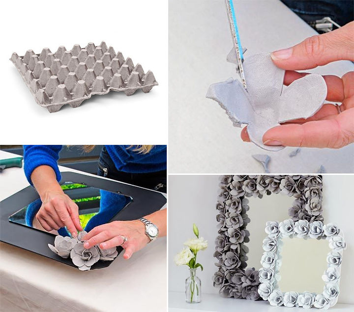 Cut out the egg carton cups and shape them in the form of flower petals and stick them together with hot glue. Use MDF for back cover of the mirror. More on: http://www.handimania.com/diy/egg-cartons-decorative-mirror.ht