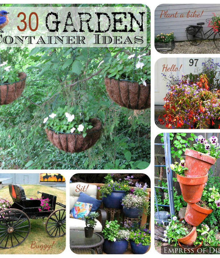 You can see all of the containers here: http://www.empressofdirt.net/gardencontainerideas/
