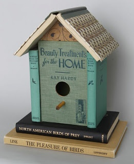 3. Old Books - Transformed into a bird house. This is such a quaint and cute idea!! I also really love how this person didn't destroy the books to construct this. It is so simple and brilliant at the same time! It makes me want to...