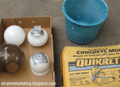 Supplies: Lighting Globes purchased from the thrift store $2 ea, and Quikrete concrete mix, $4.