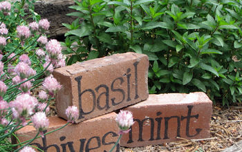 diy brick herb markers, crafts, gardening, Brick Herb Markers