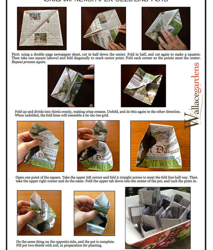 Step-by-Step instructions for Origami Paper Seedling Pots.