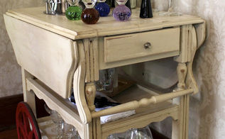 trashed tea cart turned bar cart, painted furniture, repurposing upcycling, Finished and ready to party