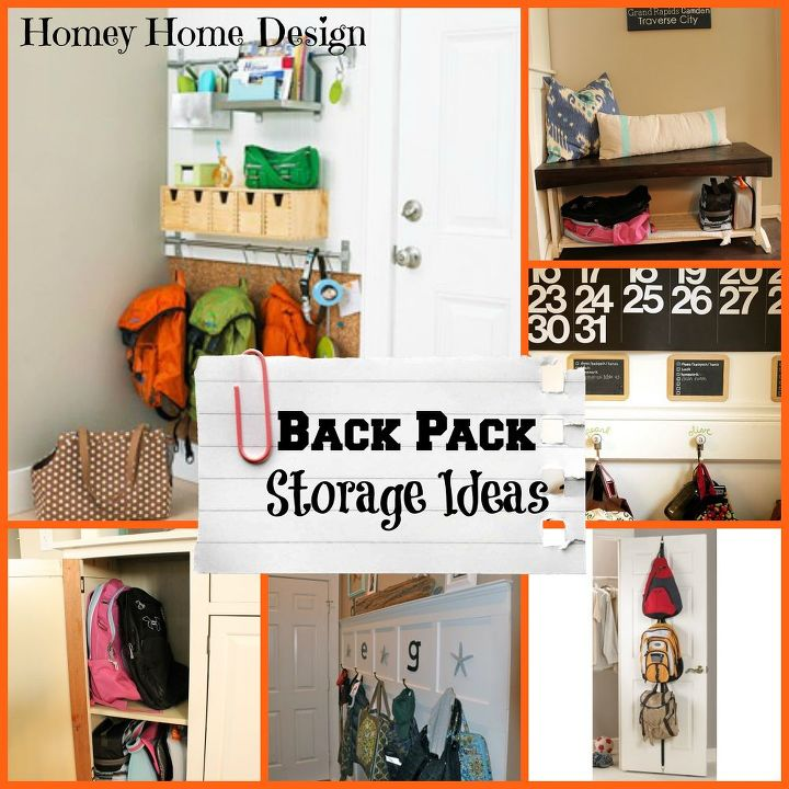 Create a spot in the hallway or inside a closet or hutch to store away backpacks.