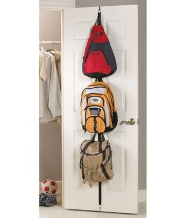 This is another great idea. Put 3M hooks inside a closet door. At our house I use these hooks inside the door for younger kids coats.