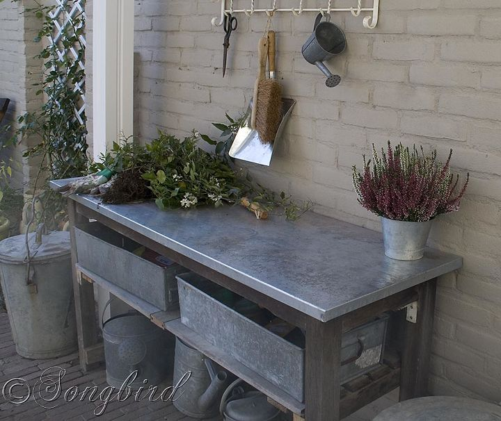 How to turn a garden table into a potting bench hometalk how to turn a garden table into a potting bench gardening painted furniture workwithnaturefo