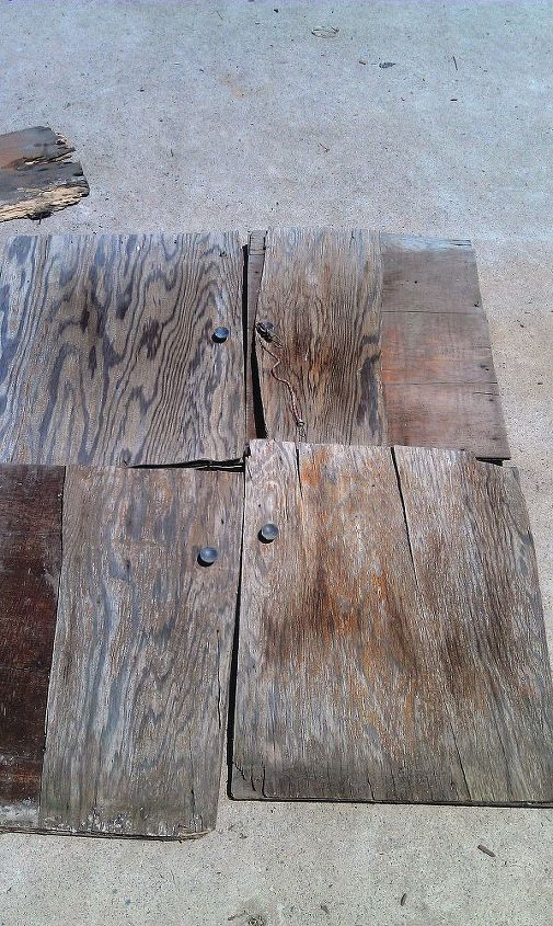 These are doors from an old cabinet I found that was falling apart. The guts of the cabinet were still in good condition. It just needed new doors, a paint job and a new roof.  I wish I had taken a before picture of the entire cabinet.