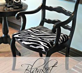 Reupholstered Chair With Blanket, Painted Furniture, Reupholster, The Chair  Was Painted Glossy Black