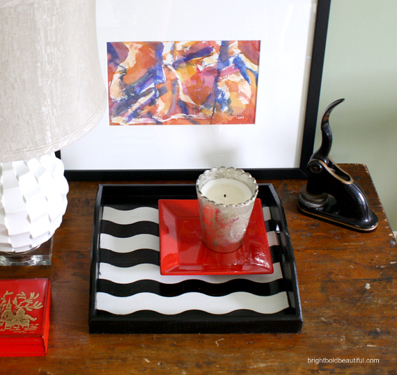 How to Paint a Patterned tray with Shape Tape