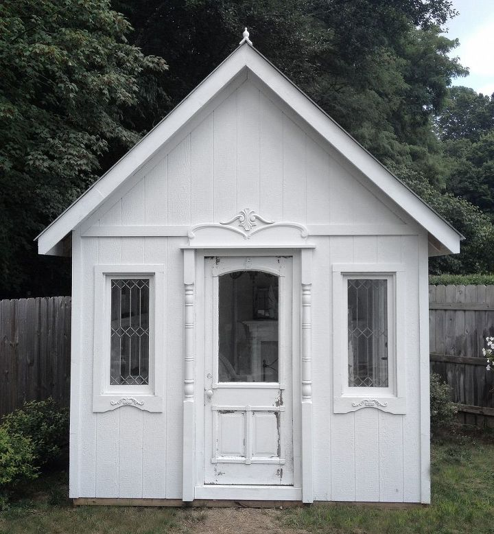 white garden cottage, diy, outdoor living, repurposing upcycling, woodworking projects