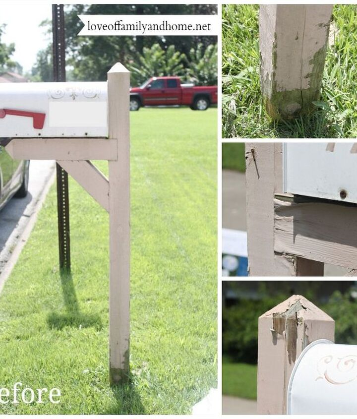 "The sad, pitiful ""before"" photos. Chipping paint, rusted mailbox."
