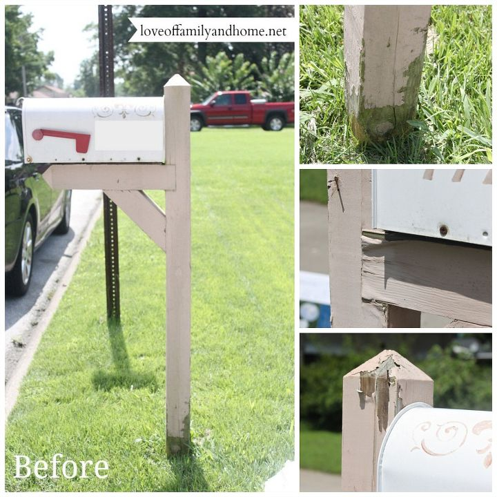 """The sad, pitiful """"before"""" photos. Chipping paint, rusted mailbox."""