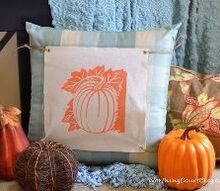 no sew changeable pillow covers, christmas decorations, crafts, halloween decorations, seasonal holiday decor, This orange pumpkin transfer looks great mixed with blue