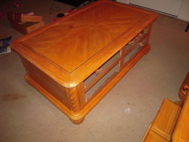 remake of one ugly coffee table set, painted furniture, Here it is in all its glory as orange as can be Took the drawers out already had to scrub this thing down with two different brushes